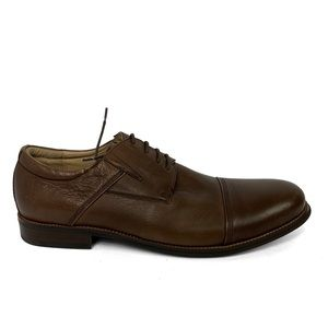 NEW Zanzara Lace Up Brown Leather Oxford Shoes Cap